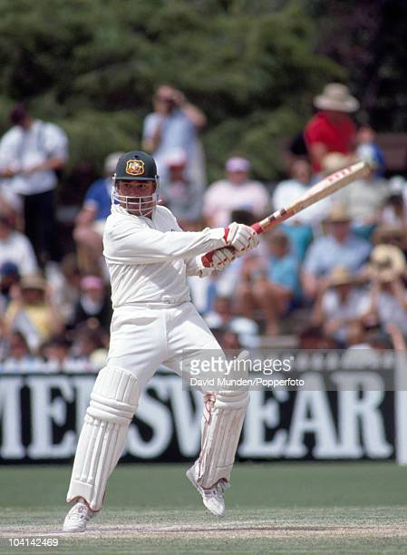 David Boon batting for Australia during the 4th Test match between Australia and England at the Adelaide Oval 25th January 1991 The match ended in a...