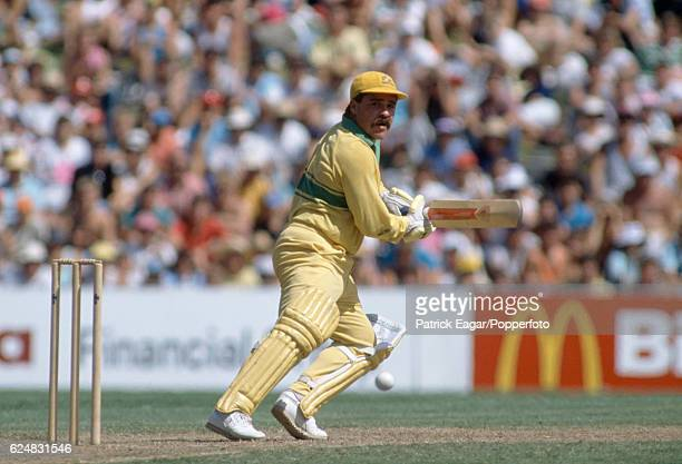 David Boon batting for Australia in the 2nd Benson and Hedges World Series Cup Final between Australia and New Zealand at Sydney Australia 24th...