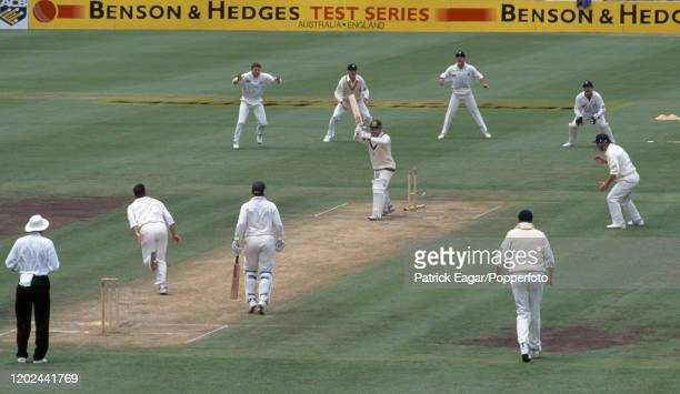 David Boon of Australia is bowled for 3 runs by Darren Gough of England during the 3rd Test match between Australia and England at the Sydney Cricket...