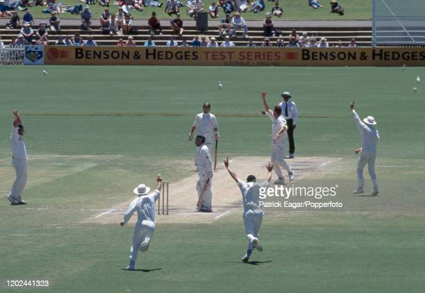 David Boon of Australia is caught behind for 4 runs by England wicketkeeper Steve Rhodes off the bowling of Angus Fraser during the 4th Test match...