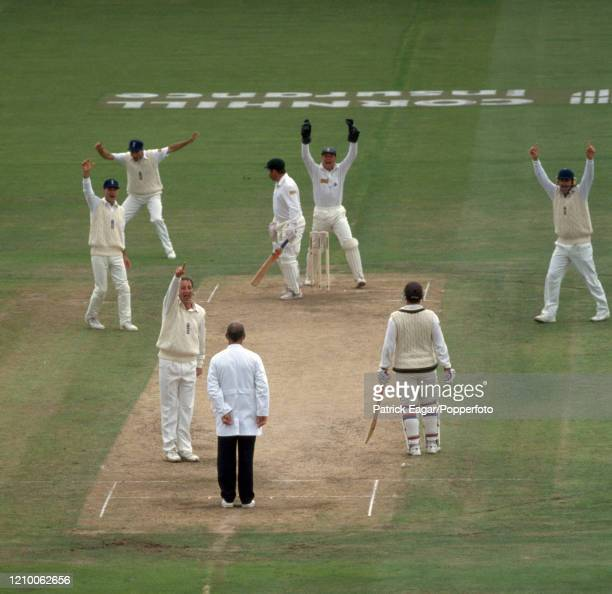 David Boon of Australia is given out LBW for 0 to John Emburey of England during the 5th Test match between England and Australia at Edgbaston...