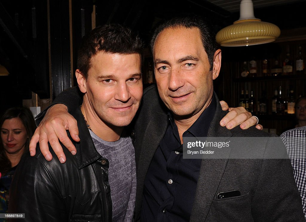 David Boreanaz (L) and Adam Berkowitz attend the 2013 CAA Upfronts Party on May 14, 2013 in New York City.