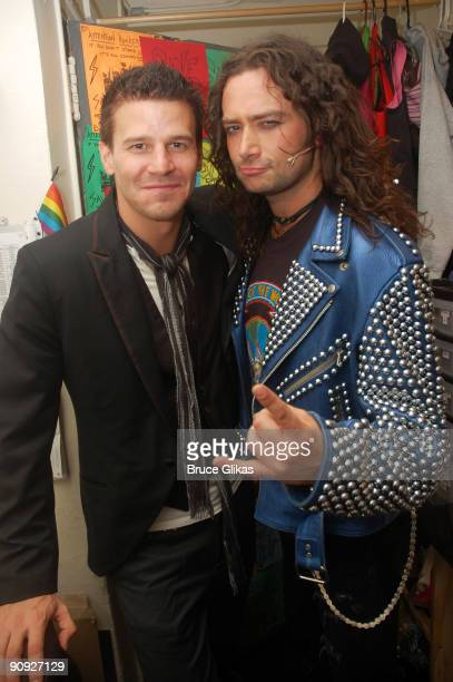 David Boreanaz and Constantine Maroulis pose backstage at the hit rock musical 'Rock of Ages' on Broadway at The Brooks Atkinson Theater on September...