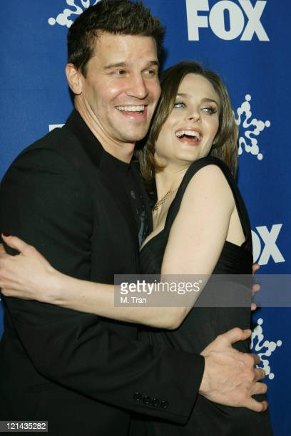 David Boreanaz and Emily Deschanel during Fox AllStar TCA Party at Villa Sorriso in Pasadena California United States