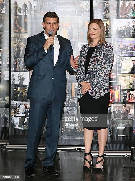 David Boreanaz and Emily Deschanel pose during Fox Celebrates 'Bones' 200th Episode at the Fox Studio Lot on November 14 2014 in Century City...