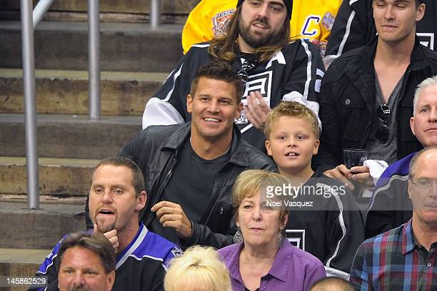 David Boreanaz and his son Jaden Boreanaz attend game four of the 2012 Stanley Cup Final between the Los Angeles Kings and the New Jersey Devils at...