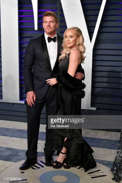 David Boreanaz and Jaime Bergman attend the 2019 Vanity Fair Oscar Party hosted by Radhika Jones at Wallis Annenberg Center for the Performing Arts...