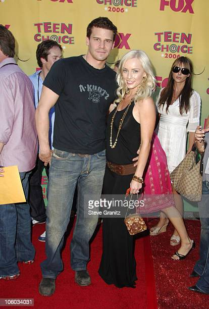 David Boreanaz and Jaime Bergman during 2006 Teen Choice Awards Arrivals at Gibson Amphitheatre in Universal City California United States