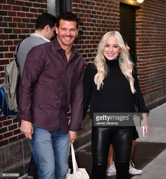 David Boreanaz and Jaime Bergman leave the 'The Late Show With Stephen Colbert' at the Ed Sullivan Theater on September 26 2017 in New York City