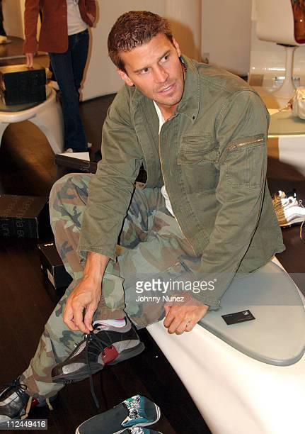 David Boreanaz during David Boreanaz and Malik Yoba Instore at Fila in New York City May 19 2006 at Fila Store on Madison Ave in New York City New...