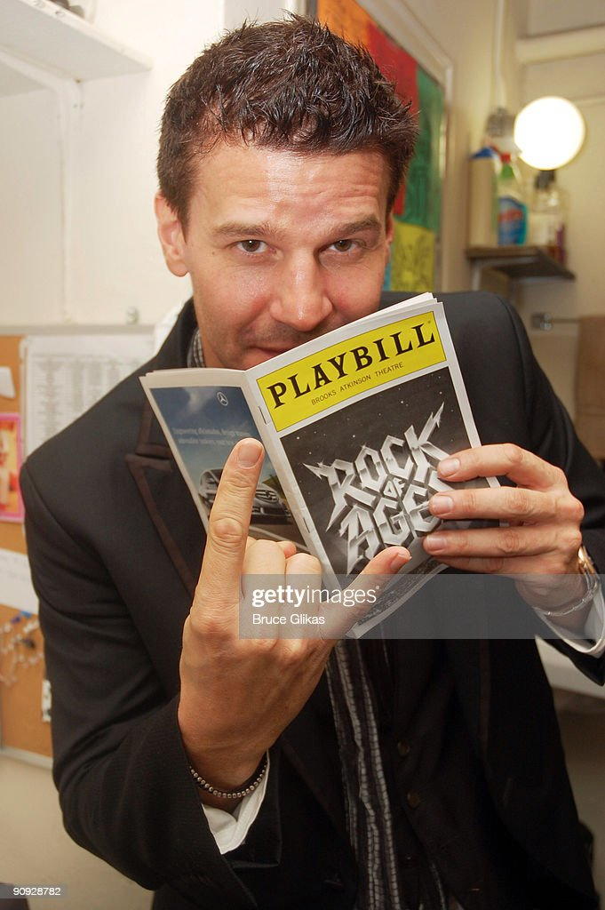 David Boreanaz poses backstage at the hit rock musical 'Rock of Ages' on Broadway at The Brooks Atkinson Theater on September 17, 2009 in New York, New York.