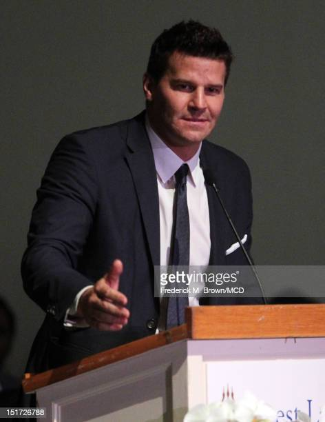 David Boreanaz speaks onstage during Michael Clarke Duncan's Memorial Service at Forest Lawn Cemetery on September 10 2012 in Los Angeles California