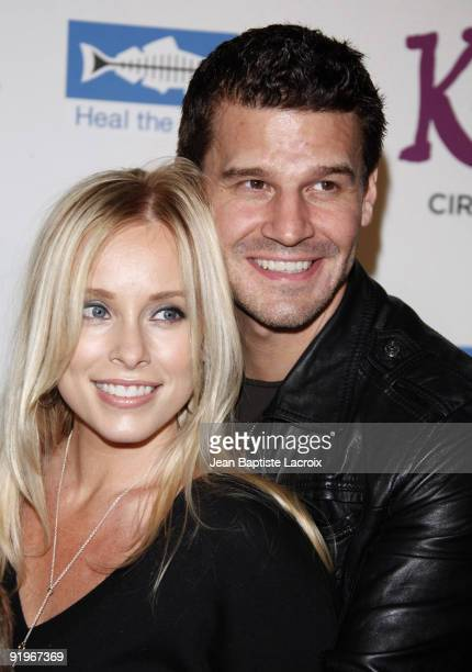 David Boreanaz wife Jaime Bergman and son Jaden arrive for the Cirque Du Soleil Opening Night Gala For Kooza at Santa Monica Pier on October 16 2009...