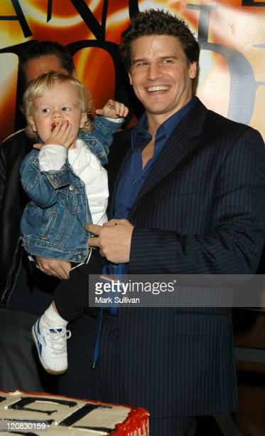 David Boreanaz with son Jaden during Angel Celebrates Its 100th Episode at Paramount Studios in Hollywood California United States