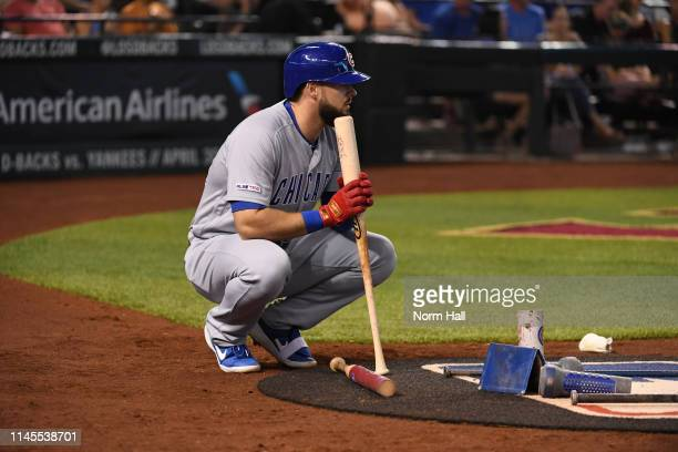 David Bote of the Chicago Cubs gets ready in the ondeck circle prior to an at bat against the Arizona Diamondbacks during the third inning at Chase...