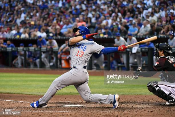 David Bote of the Chicago Cubs hits a tworun home run in the fifth inning during the game against the Arizona Diamondbacks at Chase Field on Saturday...