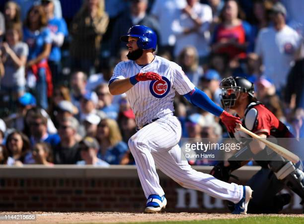 David Bote of the Chicago Cubs hits a walkoff single against the Arizona Diamondbacks at Wrigley Field on April 21 2019 in Chicago Illinois