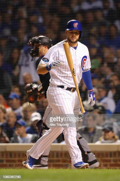 David Bote of the Chicago Cubs reacts after striking out during the National League Wild Card game against the Colorado Rockies at Wrigley Field on...