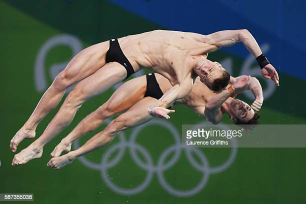David Boudia and Steele Johnson of the United States compete in the Men's Diving Synchronised 10m Platform Final on Day 3 of the Rio 2016 Olympic...