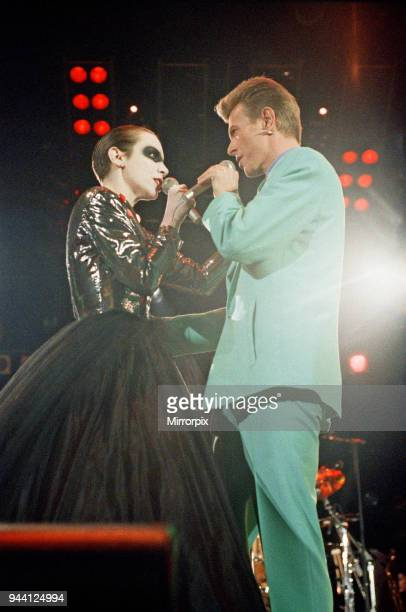 David Bowie and Annie Lennox performing 'Under Pressure' at The Freddie Mercury Tribute Concert for Aids Awareness at Wembley Stadium Picture taken...