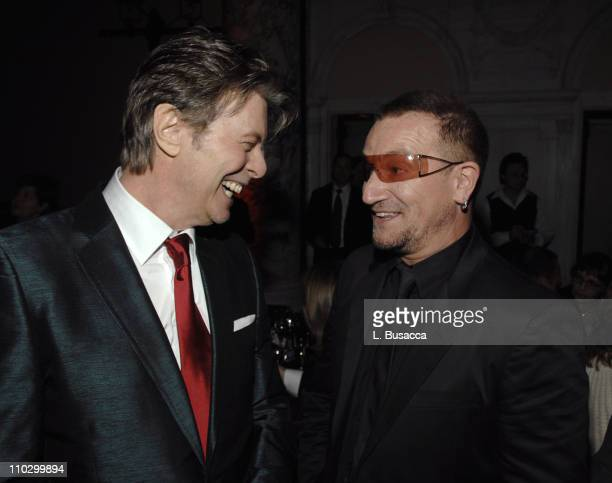 David Bowie and Bono during Lou Reed is Awarded George Arents Pioneer Medal Syracuse University's Highest Alumni Award at W New York Union Square in...