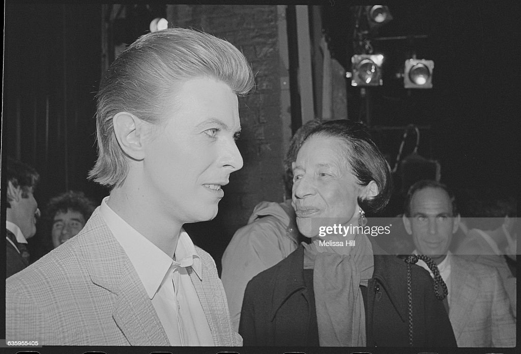 David Bowie and Diana Ureeland at the opening of The Elephant Man at Booth Theatre in New York. Bowie took over the role of John Merrick for the run of the play at Booth Theatre. Playwright: Bernard Pomerance.