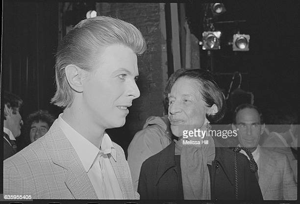 David Bowie and Diana Ureeland at the opening of The Elephant Man at Booth Theatre in New York Bowie took over the role of John Merrick for the run...