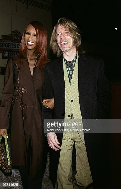 David Bowie and expectant wife Iman arrive to celebrate the Joseph Papp Public Theater/New York Shakespeare Festival's Gala 2000 at the Chelsea Piers