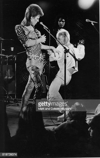 David Bowie and guitarist Mick Ronson on stage at the Marquee Club London during filming of 'The 1980 Floor Show' The performance was filmed before a...