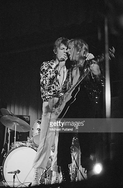 David Bowie and guitarist Mick Ronson performing with the Spiders From Mars on the first date of the group's Ziggy Stardust Tour at the Borough...