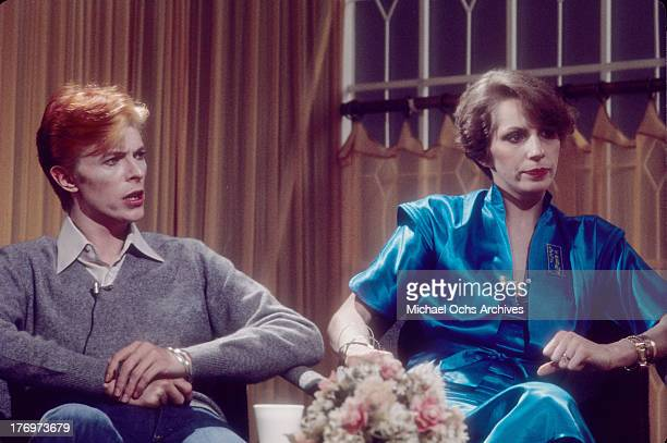 David Bowie and his wife Angela Bowie are interviewed on 'Good Morning America' by Rona Barrett in February, 1976 in Los Angeles, California.