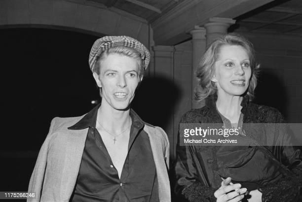 David Bowie and hs wife Angie at a reception given by the American Film Institute for film director Michelangelo Antonioni at Greystone Mansion...