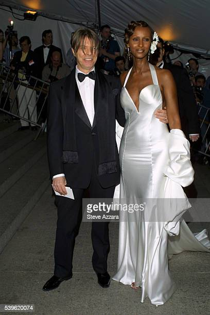 David Bowie and Iman arrives at the Metropolitan Museum Costume Institute's benefit opening party for the 'Goddess' exhibition Photo by Steve...