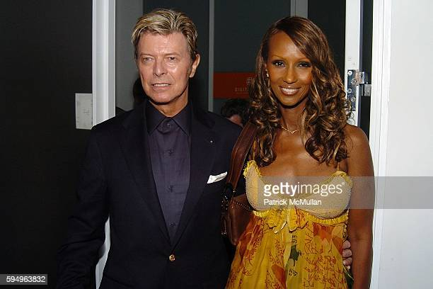 David Bowie and Iman attend DIOR THE CINEMA SOCIETY present a screening of Hart Sharp Entertainment Miramax Films' Proof at 165 Charles St on...