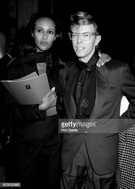 David Bowie and Iman attend Eduard Nakhamkin Fine Arts Gallery Exhibit Opening on November 27 1990 in New York City