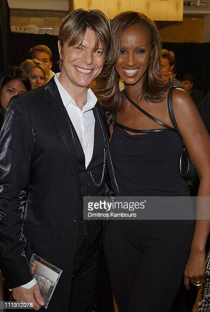 David Bowie and Iman during 2002 VH1 Vogue Fashion Awards Backstage and Audience at Radio City Music Hall in New York City New York United States