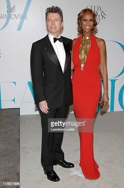 David Bowie and Iman during 2007 CFDA Fashion Awards Red Carpet at New York Public Library in New York City New York United States