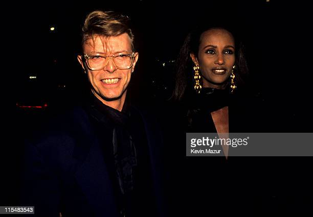 David Bowie and Iman during Eduard Nakhamkin Fine Arts Gallery Benefiting The American Cancer Society November 27 1990 at Eduard Nakhamkin Fine Arts...