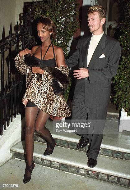 David Bowie and Iman in Mayfair on April 21 1995 in London
