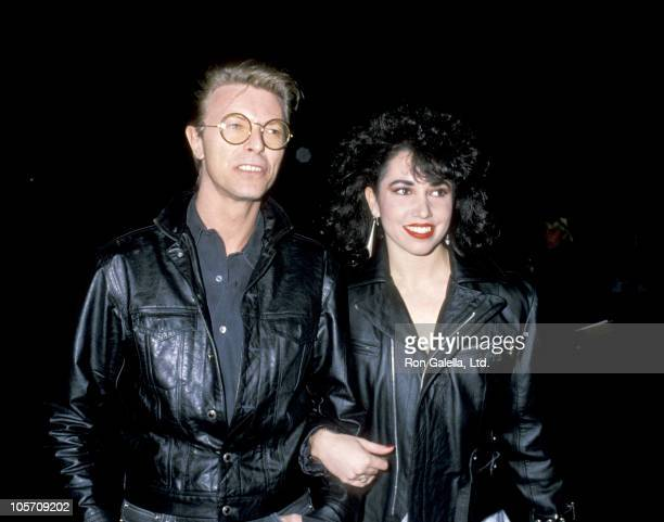 """David Bowie and Melissa Hurley during Opening of """"Hurlyburly"""" at Westwood Theater in Westwood, California, United States."""