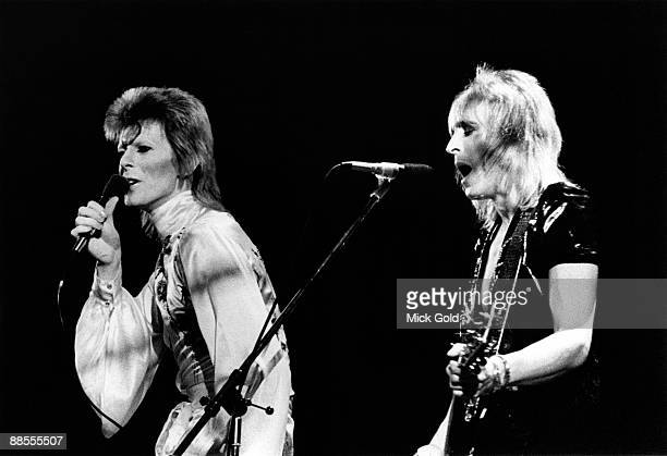 David Bowie and Mick Ronson perform on stage during the Ziggy Stardust and the Spiders from Mars tour at Earls Court London on May 12 1973