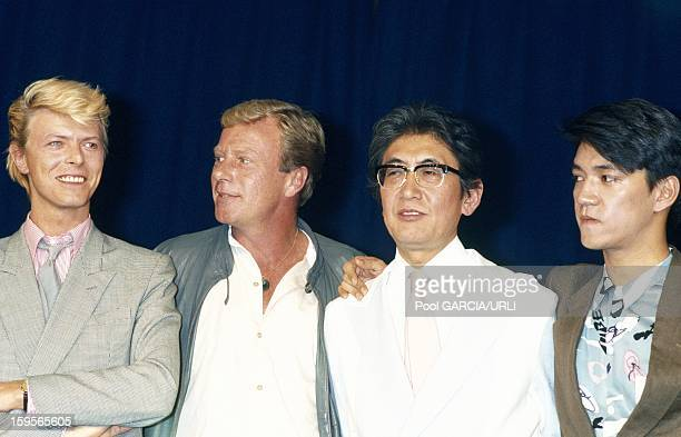 David Bowie and Nagisa Oshima give a press conference to present 'Merry Christmas Mr Lawrence' at the Cannes Film Festival 1983 in Cannes France