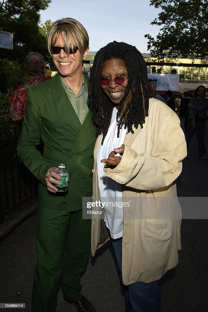 David Bowie and Whoopi Goldberg during MTV's Rock and Comedy Concert - Backstage at Battery Park in New York City, New York, United States.