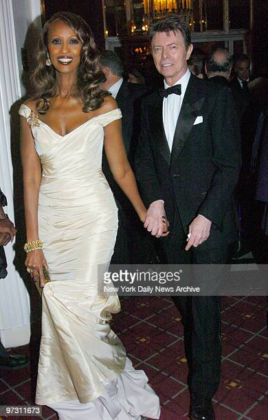 David Bowie and wife Iman are at the WaldorfAstoria hotel for the Elie Wiesel Foundation for Humanity Award Dinner