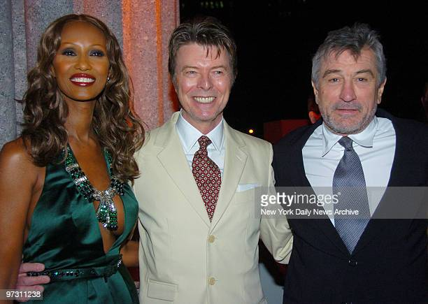 David Bowie and wife Iman are joined by Robert De Niro at New York Supreme Court at 60 Centre St where Vanity Fair magazine hosted a private dinner...