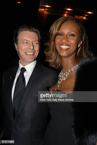 David Bowie and wife Iman are on hand at an awards dinner for the American Foundation for AIDS Research at Cipriani 42nd St The benefit which was...