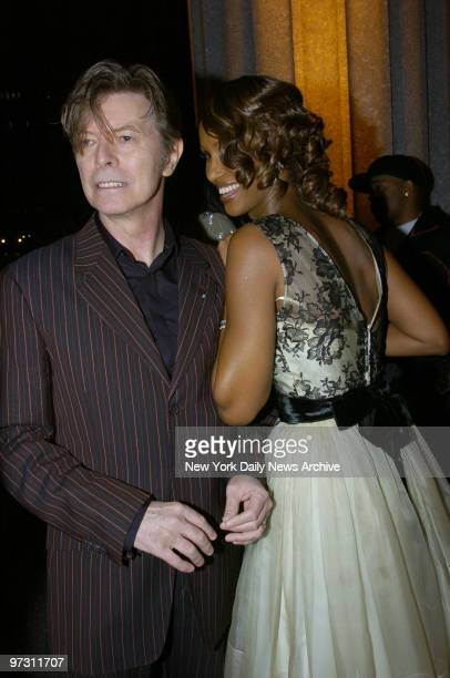 David Bowie and wife Iman attend a Vanity Fair party celebrating the fourth annual Tribeca Film Festival at the State Supreme Courthouse