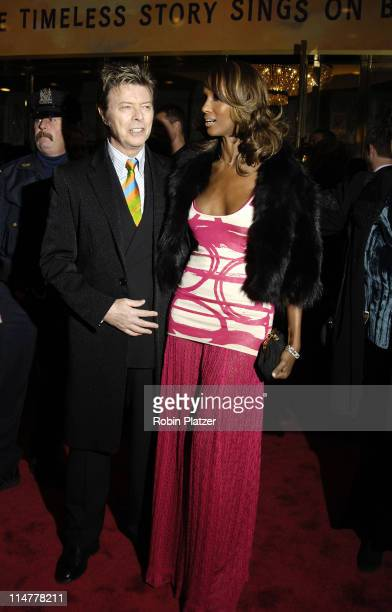 David Bowie and wife Iman during The Color Purple Broadway Opening Night Arrivals at The Broadway Theatre in New York City New York United States