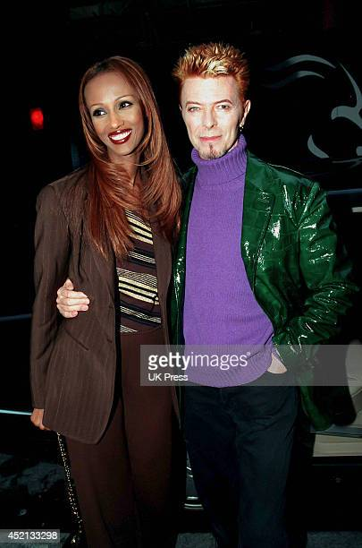David Bowie and wife Iman in London to launch his new Publication and Publishing company on May 20 1997 in London United Kingdom