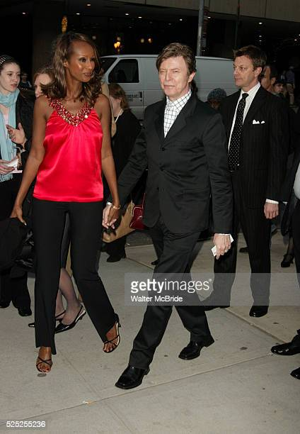 David Bowie and wife ImanAttend the Opening Night Performance of Broadway's New Provocative New Hit Play THE PILLOWMAN at the Booth Theatre in New...